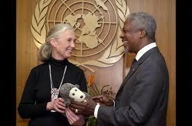 Jane Goodall y Koffi Annan